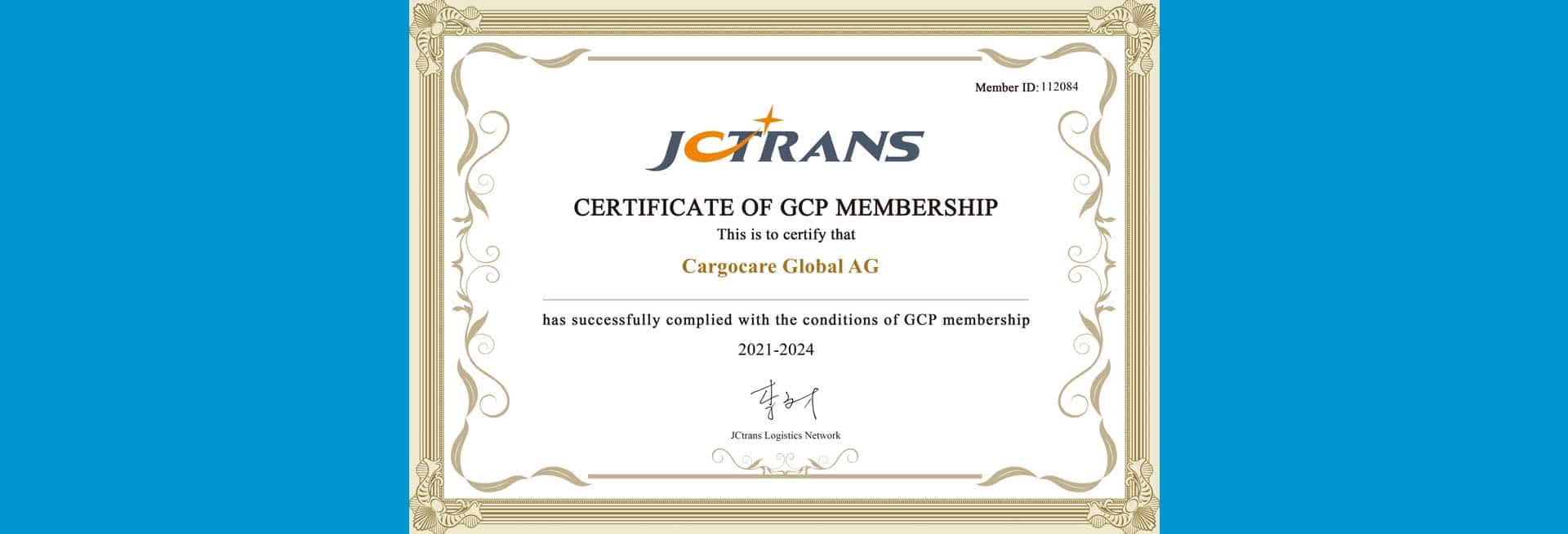 JCtrans Certificate of GCP Membership 1