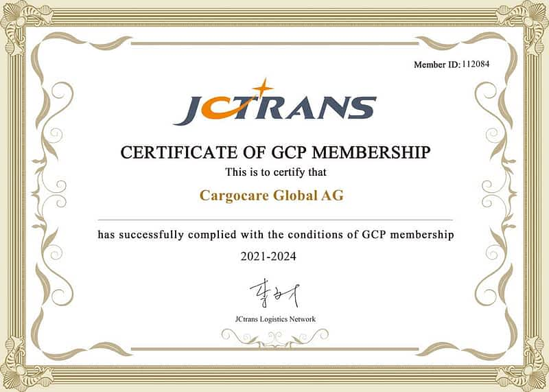 JCtrans Certificate of GCP Membership