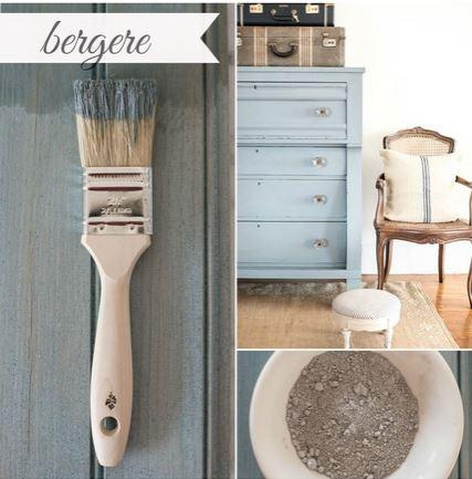 Miss Mustard Seed´s Milk Paint im Farbton Bergere, einem kühlen Graublau aus der European Color Line.