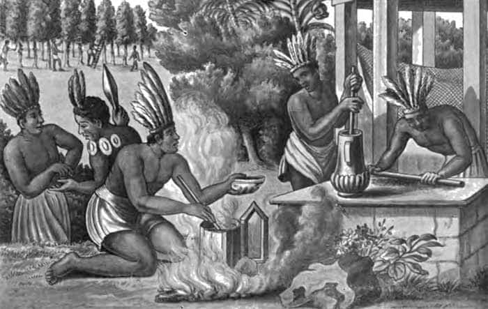Aztecs preparing and cooking cocoa.