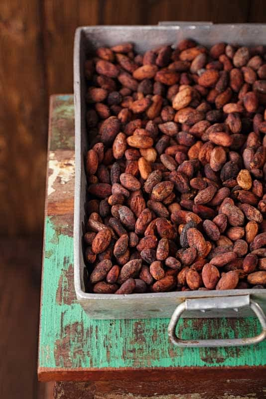 Cocoa beans to be roasted