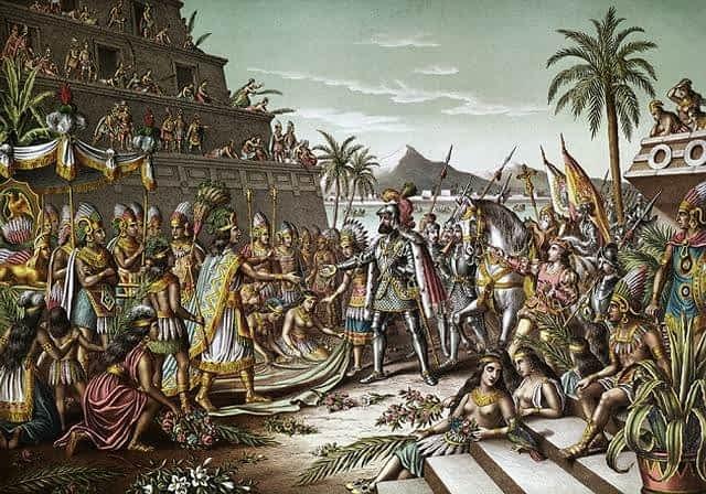Hernan Cortes arriving in Tenochtitlan, the Aztec capital to meet the emperor, Montezuma II.